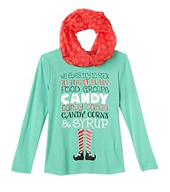 Beautees Girls' 7-16 Elf Food Groups Tee with Scarf