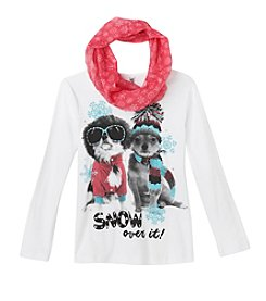 Beautees Girls' 7-16 Snow Over It! Tee with Scarf