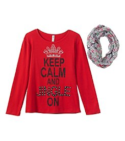 Beautees Girls' 7-16 Jingle On Tee With Scarf