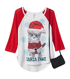 Beautees Girls' 7-16 Santa Paws Tee with Purse