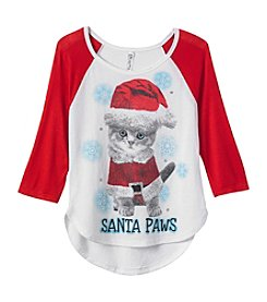 Beautees Girls' 4-6X Santa Paws Tee