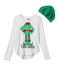 Belle du Jour Girls' 7-16 Elfie Selfie Tee with Hat