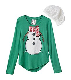 Belle du Jour Girls' 7-16 Snowman Tee with Hat