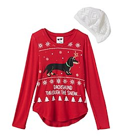 Belle du Jour Girls' 7-16 Dachshund Through The Snow Tee with Hat