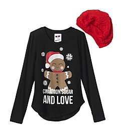 Belle du Jour Girls' 7-16 Cinnamon Sugar & Love Tee with Hat