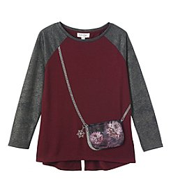 Jessica Simpson Girls' 7-16 Ella Flower Purse Tee