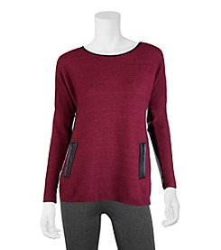 A. Byer Faux Leather Trim Pullover Sweater