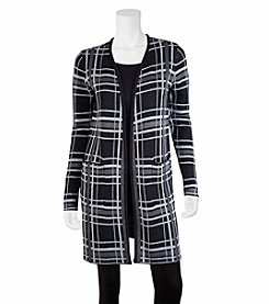 A. Byer Plaid Cardigan Duster