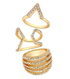 GUESS Goldtone Trio Ring Set