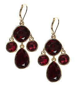 Nine West® Red Stone Chandelier Earrings