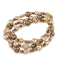 Carolee® Goldtone Faux Pearl Stretch Bracelet