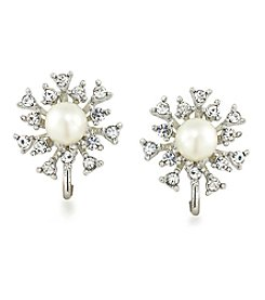 Carolee® Faux Pearl Sunburst Stud Clip On Earrings