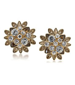Carolee® Metropolitan Goldtone Stone Cluster Clip On Earrings
