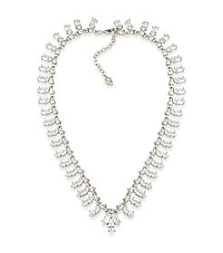 Carolee® Silvertone Cubic Zirconia Collar Necklace