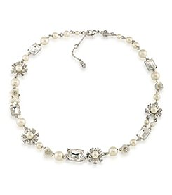 Carolee® Silvertone Faux Pearl Collar Necklace