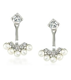 Carolee® Faux Pearl Silvertone Jacket Earrings