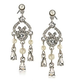 Carolee® Faux Pearl and Glass Stone Chandelier Earrings