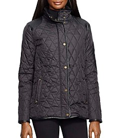 Lauren Ralph Lauren® Short Quilted Coat With Faux Leather Patch