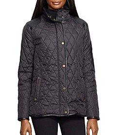 Lauren Ralph Lauren® Short Quilted Coat With Faux Leather Patch