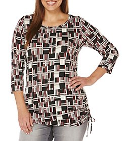 Rafaella® Plus Size Blocks Stripes Print Top
