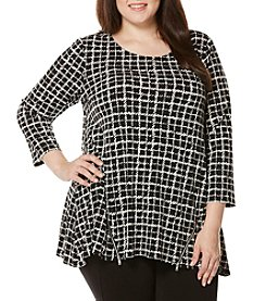 Rafaella® Plus Size Graphic Grid Top