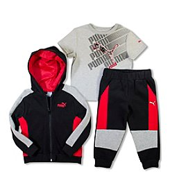 PUMA® Boys' 2T-4T 3-Piece Colorblock Joggers Set