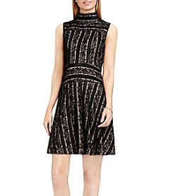 Vince Camuto® Mock Neck Lace Fit And Flare Dress
