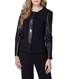 Tahari ASL® Ponte Faux Leather Jacket