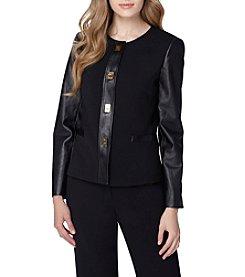 Tahari ASL® Ponte Faux Leather Jacket