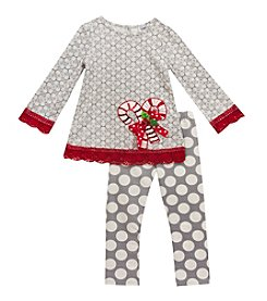 Rare Editions® Baby Girls' 2-Piece Candy Cane Tunic and Leggings Set