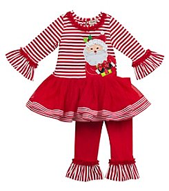 Rare Editions® Baby Girls' 2-Piece Santa Tutu Top and Leggings Set