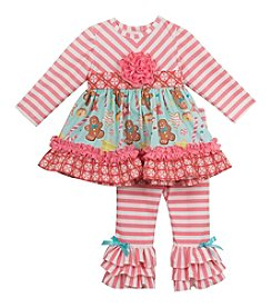 Rare Editions® Baby Girls' 2-Piece Gingerbread Tunic and Leggings Set