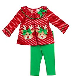 Rare Editions® Baby Girls' 2-Piece Reindeer Tunic and Leggings Set