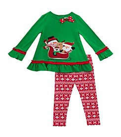 Rare Editions® Baby Girls' 2-Piece Sleigh Friends Tunic and Leggings Set