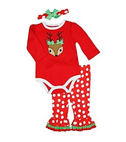 Baby Essentials® Baby Girls' 3-Piece Reindeer Bodysuit Set