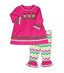 Baby Essentials® Baby Girls' 2-Piece Reindeer Top and Leggings Set
