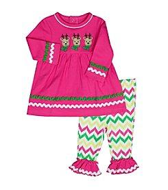 Baby Essentials® Baby Girls' 2-Piece Reindeer Top and Leggings Set