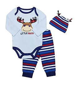 Baby Essentials® Baby Boys 3-Piece Little Buck Bodysuit Set
