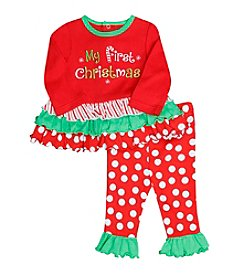 Baby Essentials® Baby Girls' 2-Piece First Christmas Top and Leggings Set