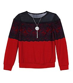 Amy Byer Girls' 7-16 Long Sleeve Lace Accent Top