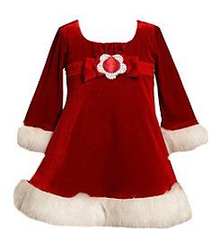 Bonnie Jean® Girls' 2T-4T Long Sleeve Glittered Santa Dress