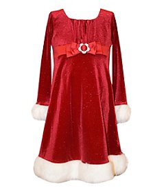 Bonnie Jean® Girls' 4-6X Long Sleeve Glittered Santa Dress