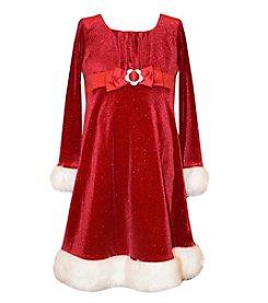 Bonnie Jean® Girls' 4-6X Long Sleeve Glittered Santa Dress