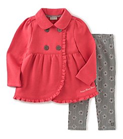 Calvin Klein Jeans Girls' 2T-6X 2-Piece Ruffle Jacket And Floral Leggings Set