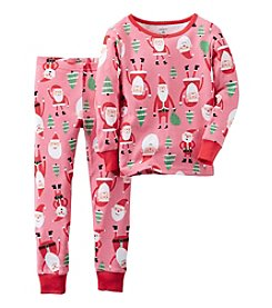 Carter's® Girls' 12M-7 2-Piece Cotton Allover Santa Pajama Set