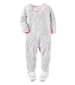 Carter's® Girls' 12M-7 One Piece Fleece Leopard Sleeper