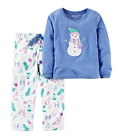 Carter's® Girls' 2-Piece Fleece Snowman Pajama Set