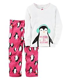 Carter's® Girls' 2-Piece Cotton & Fleece Too Cool Pajama Set