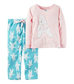 Carter's® Girls' 2-Piece Fleece Polar Bear Yoga Pajama Set