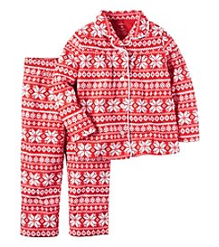 Carter's® Girls' 2-Piece Fleece Fair Isle Coatfront Pajama Set